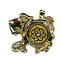 Damascene Gold Leo the Lion Zodiac Tie Tack / Pin by Midas of Toledo Spain style 5317