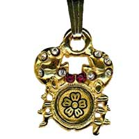 Damascene Gold Cancer the Crab Zodiac Pendant on Chain Necklace by Midas of Toledo Spain style 5409